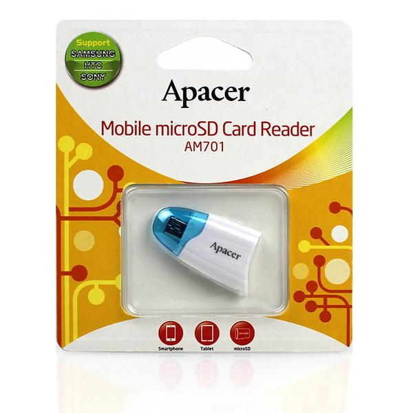 【Apacer宇瞻】Apacer AM701/AM-701 microSD 手機專用T-Flah卡轉 micro USB OTG讀卡機-3色