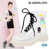 雨靴時尚平底短筒透明防滑水鞋馬丁雨靴卡通套鞋成人雨鞋女 全館88折