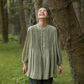 旅途原品_夏的味道_原創設計春夏牙籤褶苧麻襯衣 M/L/XL 淺綠色