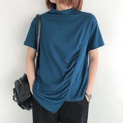 純棉T恤女 高領短袖T恤 褶皺不規則上衣/8色-夢想家-0330