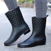 (全館一件免運)DE SHOP~(WE-913)簡約菱格造型防水半筒雨靴雨鞋