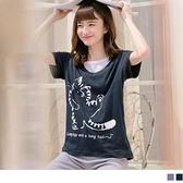 《AB10130-》台灣製造. 高棉雙面小貓燙印拼接圓領T恤/上衣 OB嚴選
