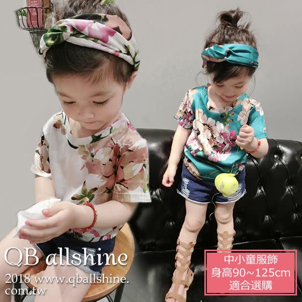 女童上衣 韓版滿版花朵短袖T恤(無髮帶) QB allshine