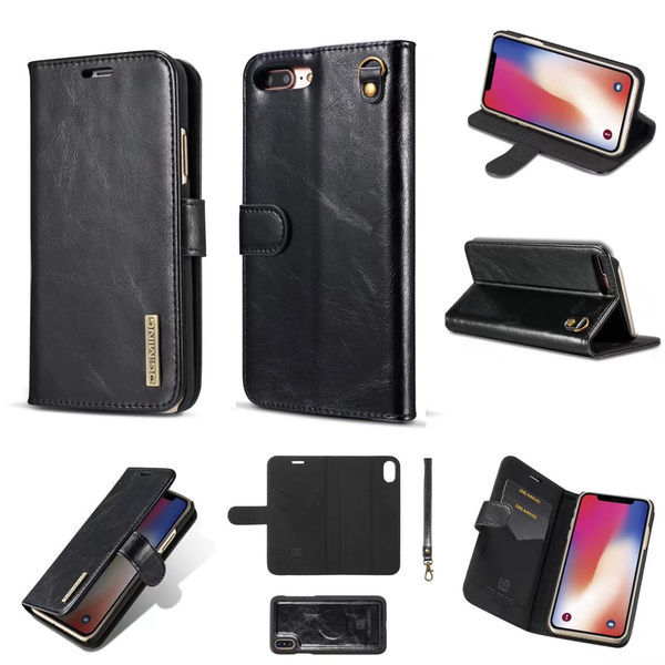 iPhone 7 8 Plus 手機皮套 超纖分體保護套 磁性翻蓋手機殼卡槽 卡套 支架 全包防摔保護殼 iphone8 i7