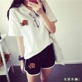 跑步休閒套裝女士秋冬韓版大碼寬鬆刺繡玫瑰短袖短褲運動服兩件套