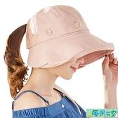 遮陽帽 夏季遮陽帽女防曬大沿帽休閒百搭騎車可折疊太陽帽出游防紫外線