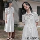 襯衫洋裝 法式桔梗白色仙女裙大碼女裝胖mm夏季新款初戀甜美遮肚襯衫連身裙 百分百