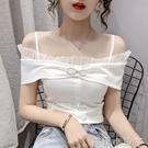 2020網紅直播衣服女主播服裝上鏡性感一字領時尚露肩雪紡衫上衣女 蘿莉新品