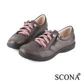 SCONA 全真皮 樂活舒適側拉休閒鞋 咖啡色 22414-2