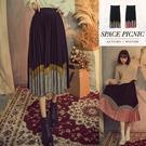 長裙 Space Picnic|經典格紋色塊拼接百摺長裙(現+預)【C18102078】