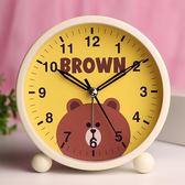 萬聖節快速出貨-靜音鬧鐘學生兒童可愛創意卡通夜光床頭簡約臥室電子小鬧鐘鬧錶