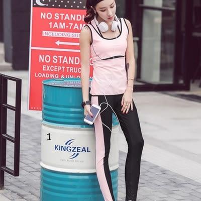 韓國春夏新款瑜伽服套裝三件套女短袖背心休閒運動跑步健身喻咖服   -cmx006