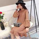 現+預 蕾絲泡泡袖純色魚尾裙孕婦洋裝 三色【CRH113201】孕味十足。孕婦裝
