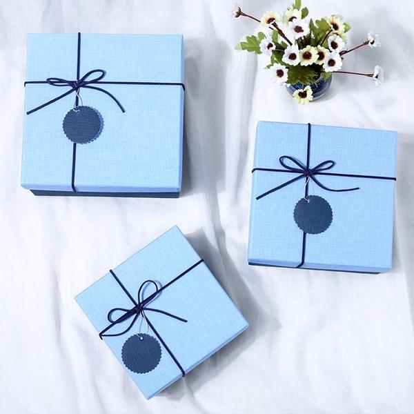 正方形復古清新文藝圣誕節禮品紙盒大號精美生日禮物盒手提包裝盒