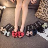 涼感新款蝴蝶結涼拖鞋平底女夏季時尚外穿防滑一字拖松糕厚底沙灘【非凡】