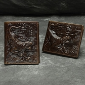 油蠟皮皮夾(短夾)-立體龍紋壓花復古男錢包2色73qs47【時尚巴黎】