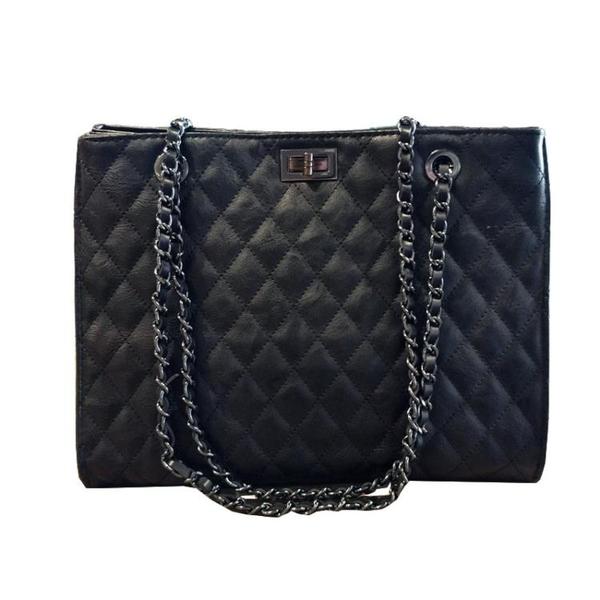 包包女2019新款潮洋氣手提包韓版百搭斜挎包大容量菱格鏈條包大包-ifashion