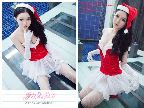 聖誕裝 M字平口露肩上衣白紗澎裙 情趣聖誕內衣-愛衣朵拉