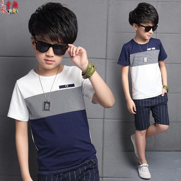 衣童趣 ♥韓版帥氣男童 棉質短袖T+短褲 夏季百搭款套裝 兩色 外出休閒套裝款