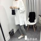 七分袖T恤 短袖t恤女2020夏韓版新款寬松七分袖中長款純棉白色開叉大碼上衣 夢藝