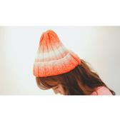 毛帽 雙色 漸層 時尚 百搭 針織 毛帽【QI1653】  icoca