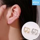 【21A77】shiny藍格子-百搭單品.時尚簡約線條鑲鑽耳骨夾