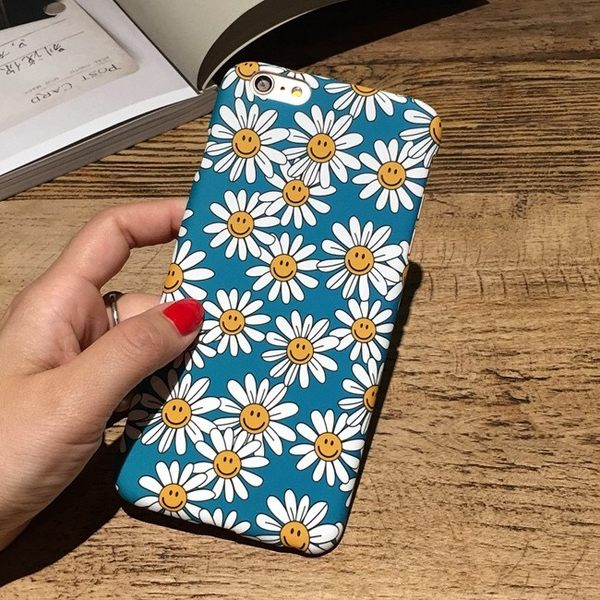 iPhone手機殼 韓國文藝笑臉雛菊 磨砂硬殼半包 蘋果iPhone7/iPhone6/iPhone5手機殼