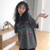 寬松短袖t恤女韓版原宿bf風百搭蹦迪上衣【聚寶屋】