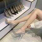 細跟高跟鞋 鞋子2021新款女春夏百搭亮片秀禾服中式婚鞋新娘鞋高跟鞋女細跟 交換禮物
