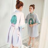 孕婦夏裝新款韓版寬上衣夏季短袖連身裙