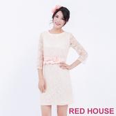 【RED HOUSE 蕾赫斯】七分袖圓領蕾絲合身洋裝(共2色)