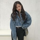 牛仔短夾克秋裝女新款復古港風寬鬆蝙蝠袖外套學生時尚帥氣上衣潮