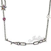 茱麗葉精品【全新現貨】Christian Dior CD LOGO彩色水鑽星星垂墜造型長鍊.銀