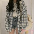春秋格子外套女寬鬆上衣女防曬衫夏季長袖薄款【聚可愛】