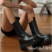 馬丁靴 網紅馬丁靴春夏新款短靴圓頭切爾西靴粗跟中筒機車靴女潮 『美鞋公社』