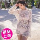 【4204-0530】夏季圖騰簍空鈎花蕾絲罩衫(黑/白)