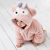 兒童卡通連體衣睡衣冬可愛動物裝寶寶服裝家居服冬裝冬季嬰兒衣服 藍嵐
