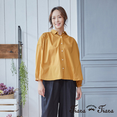 【Tiara Tiara】飛鼠袖開衩素面純棉襯衫(米/黃)