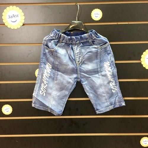 ☆棒棒糖童裝☆(92971)夏男童鬆緊腰側邊英文牛仔中褲 5-15