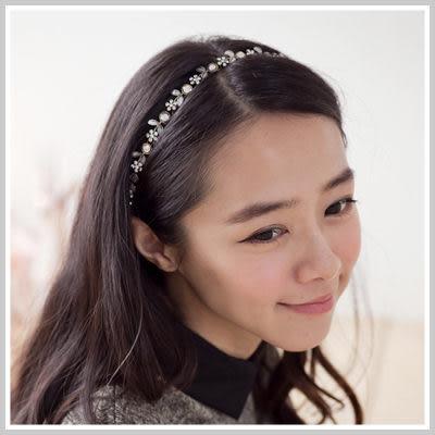 優雅女伶華麗水鑽小花朵樹葉造型髮帶【O2071】☆雙兒網☆Lazy or pretty