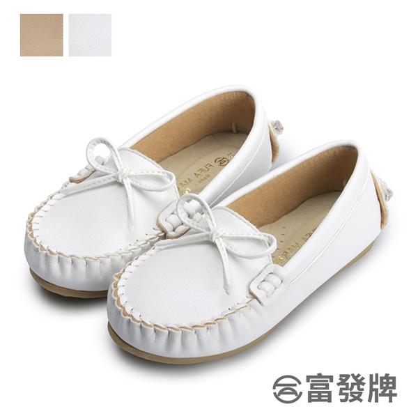 【富發牌】小蝶結兒童豆豆鞋-白/粉 33DL154