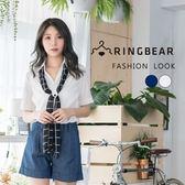 素面--知性俐落V領造型附格紋領巾亮面織紋挺版短袖襯衫(白.藍XL-5L)-H175眼圈熊中大尺碼