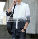 春夏季新款長袖襯衫男士韓版修身學生潮流漸變上衣服男裝薄款襯衣 設計師生活百貨
