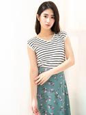 春裝上市[H2O]法式連袖背後蝴蝶結裝飾線衫 - 黃/藍/白底黑條色 #0670003