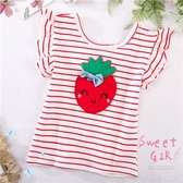 瞇眼草莓飛飛袖條紋棉質短袖上衣(290640)【水娃娃時尚童裝】