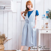 【Tiara Tiara】激安 寬版無袖綁腰吊帶長褲裙(藍)