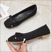 六月芬蘭方頭毛球布經典款素色蝴蝶結芭蕾舞鞋平底鞋娃娃鞋女鞋黑色(35-41大尺碼)[季節款]