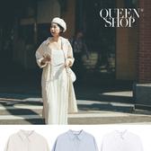 Queen Shop【01084935】素色長版排釦襯衫洋裝 三色售*現+預*