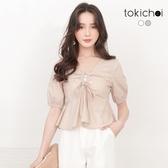 東京著衣-tokichoi-性感網美挖洞抽繩澎袖短版上衣-S.M(190758)
