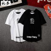男裝日系韓版字母印花短袖T恤學生休閒純棉短袖tee恤